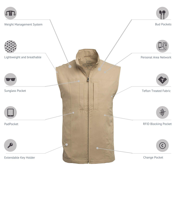 SCOTTeVEST Men's RFID Travel Vest - 26 Pockets – Travel Clothing Blk XXXL by SCOTTeVEST (Image #2)