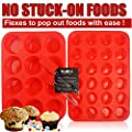 Walfos Reusable BPA Free Silicone Muffin & Cupcake Baking Pan Set (12 cup Regular Size & 24 Mini Cup Sizes) / Non Stick cake molds / Dishwasher - Microwave Safe (Red)