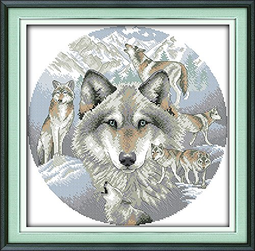 Eafior DIY Cross Stitch Kits Handmade Needlework Embroidery Kits Wolf soul printed design Home Decoration Wall Decor 48x48cm(No - Women For Fargo Just