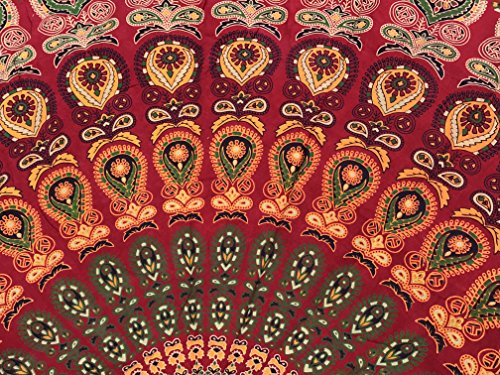 raajsee Indian Cotton RED Tapestry Mandala Wall Hangings, Hippie Tapestries,Boho Throw Bohemian Bedding, Beach Blanket, Yoga Meditation Rugs Queen Bedspread 210x220 cms