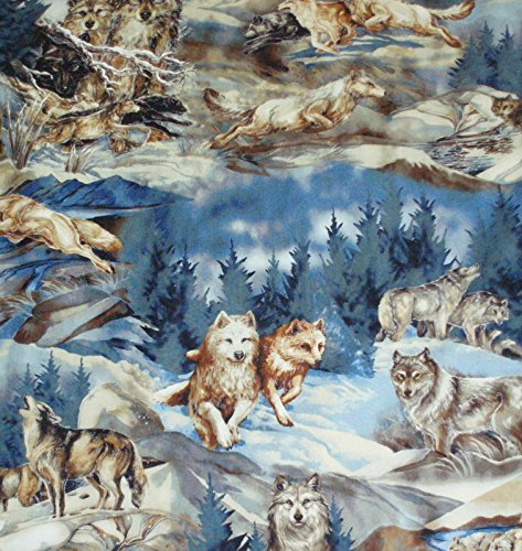 North American Wildlife 4 Wolves collage fabric nature