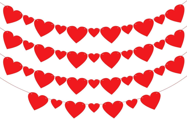 Red Glitter Hearts Valentine Mini Banner Mantel Decor Mini Bunting Glitter Heart Banner Valentine/'s Day Decor Holiday Decor