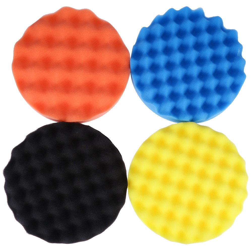 QUIOSS Car Foam Drill Polishing Pad Kit 7 Inch Buffing Pads Car Polisher Pad Kit Soft Wave Foam Waffle Sponge Set (Pack of 4)