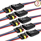 YETOR Way Car Waterproof Electrical Connector,4 pin Plug Auto Electrical Wire Connectors with Wire 16 AWG Marine for Car, Truck, Boat, and Other Wire