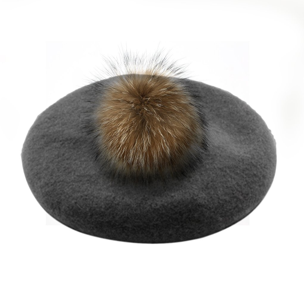 Womens Ladies Classic French Style Beret Cap Thick Wool Knit Winter Warm Beanie Hats with Fur Ball Pom, Xmas Gift (Grey) by Fakeface (Image #3)