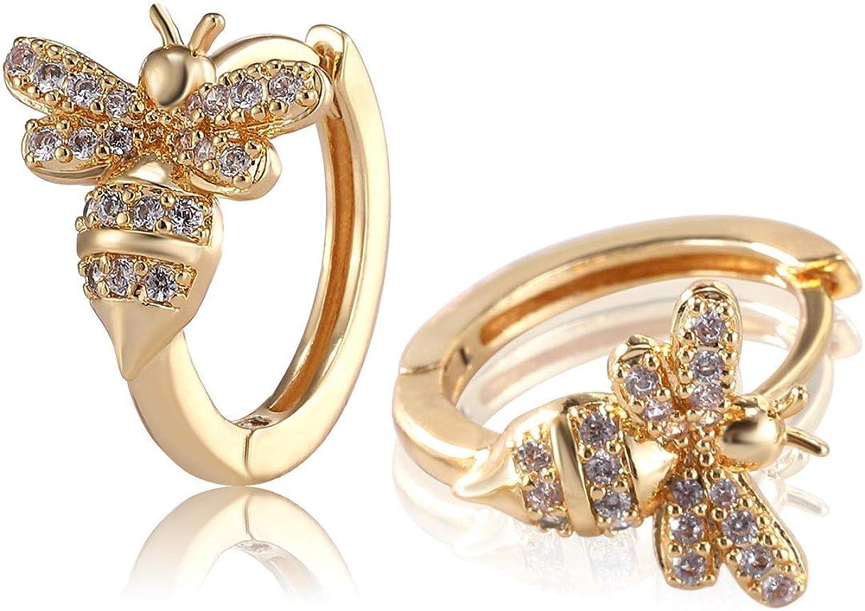 Richapex 18k Gold Plated Insect Earrings Cute Bumble Bee Cubic Zirconia Hoop Cuff Earrings Stud Hypoallergenic