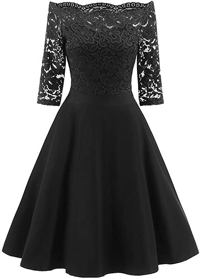 Women/'s Vintage Lace Formal Wedding Cocktail Evening Party Ladies Swing Dress