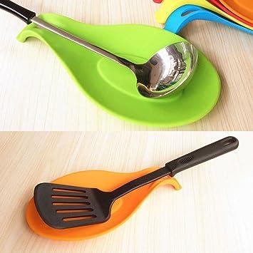 Silicone résistant à la chaleur cuillère fourchette tapis repos ustensile spatule support petit outil