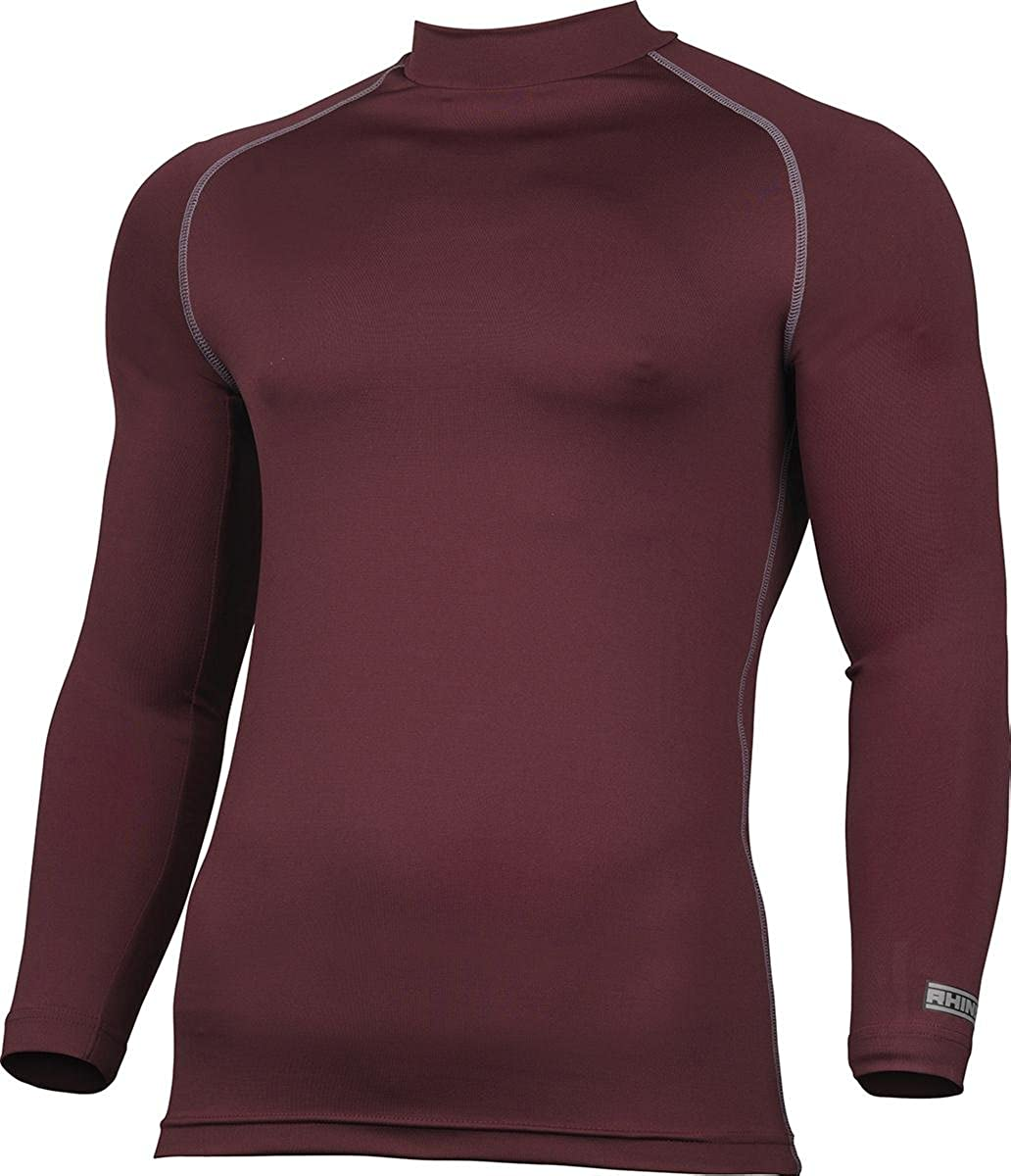 Rhino Adults Activewear Compression Top Long Sleeve Turtleneck Base Layer Shirt