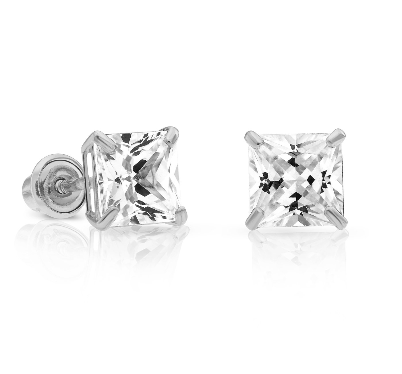 14k White Gold Cubic Zirconia Princess Cut Stud Earrings with Screw Backs (5MM)