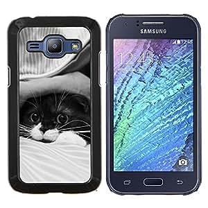 KLONGSHOP // Cubierta de piel con cierre a presión Shell trasero duro de goma Protección Caso - Lindo gato - Samsung Galaxy J1 J100 //