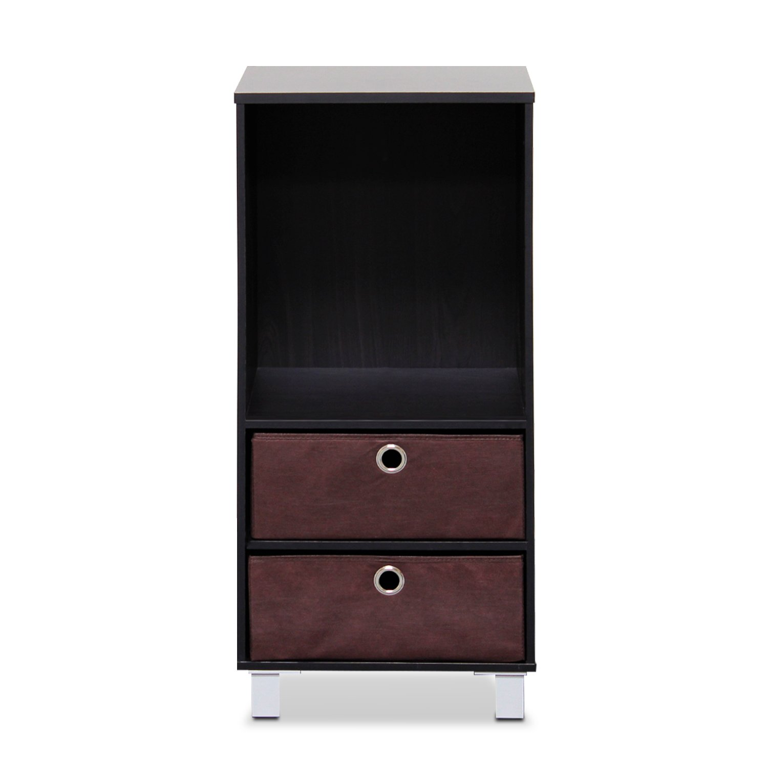 Furinno 10002EX/BR 3 Shelves Cabinet/Bedside Night Stand with 2 Bin Drawers, Espresso/Brown
