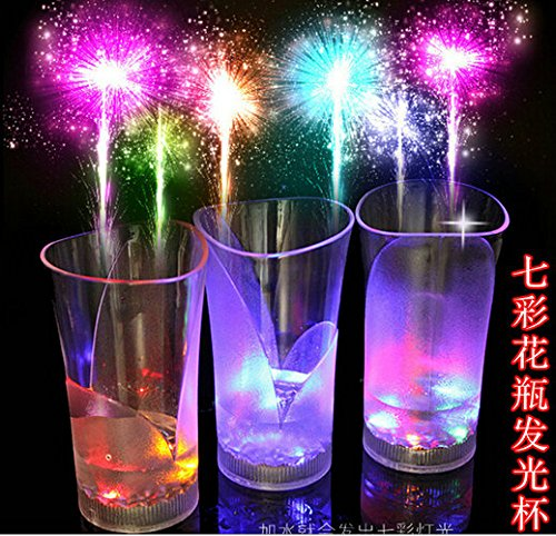 Gimaix a Pair of LED Cup LED Colorful Water Induction Cup Bar Pub Party Flashing Light Glowing Beer Cup (2)