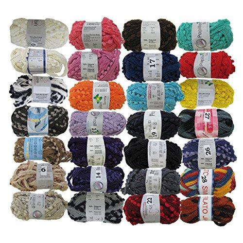 BambooMN JubileeYarn 50g Fishnet Ruffle Fancy Scarf Yarn 70% Acrylic 30% Polyamide Blend, 6 Skeins Surprise Package