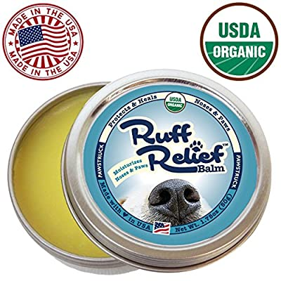Ruff Relief Balm for Dogs - Moisturize & Protect Nose & Paws (1.75oz) Organic, Natural, & Made in USA, Soothes Dry Cracked Skin, by Pawstruck by Pawstruck.com