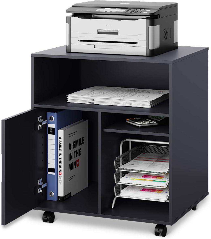 Laptop Printer Mobile Printer Stand with Wheels,Under Desk Organizing Storage Cabinet Monitor Stand Storage Organizer for Computer Desk