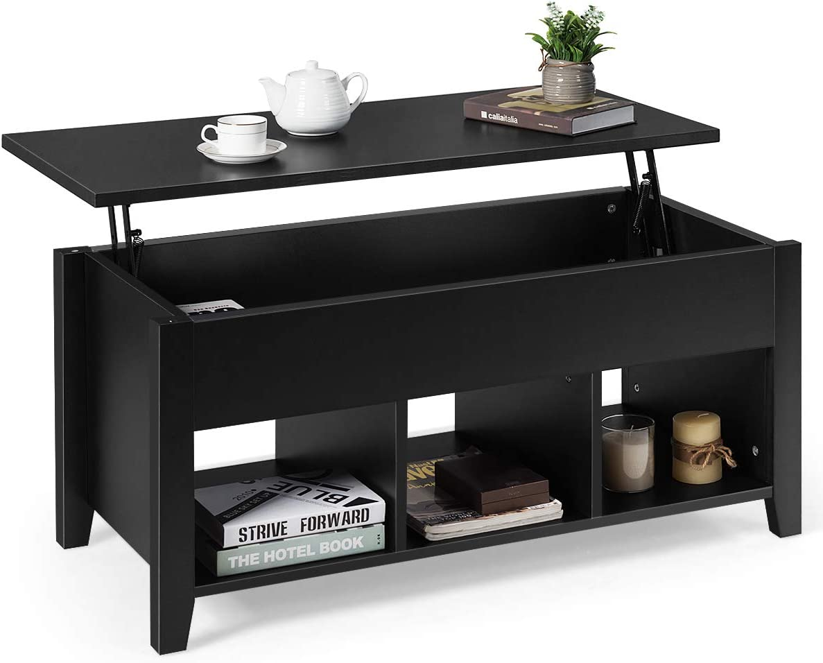 Tangkula Lift Top Coffee Table, Wood Home Living Room Modern Lift Top Storage Coffee Table w Hidden Compartment Lift Tabletop Furniture Black