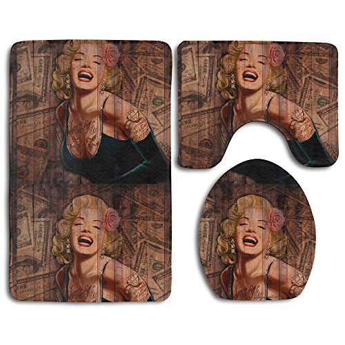 Rustic Country Barn Wood Monroe Set Non-Slip Bathroom Mat Set Lid Toilet Cover Pedestal Rug.