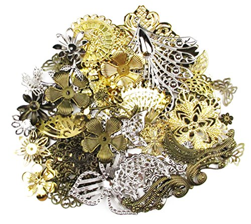 (ALL in ONE Mixed Antique Bronze/gold/platinum Alloy Pendants Beads Charms Chains Connectors Jewelry Findings 50 grams)