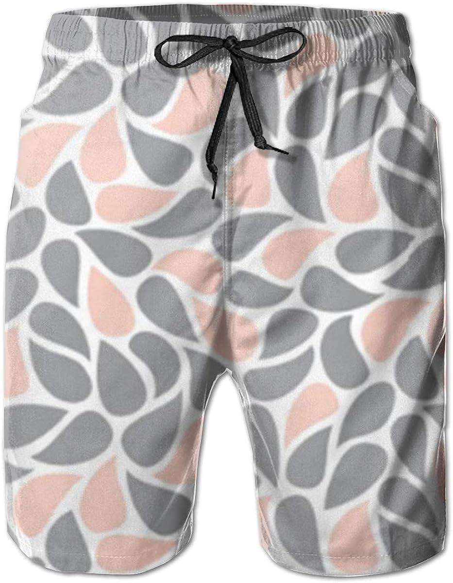 TNIJWMG Mens Board Shorts Paisley Peach /& Grey Holiday Swim Trunks Mesh Lining