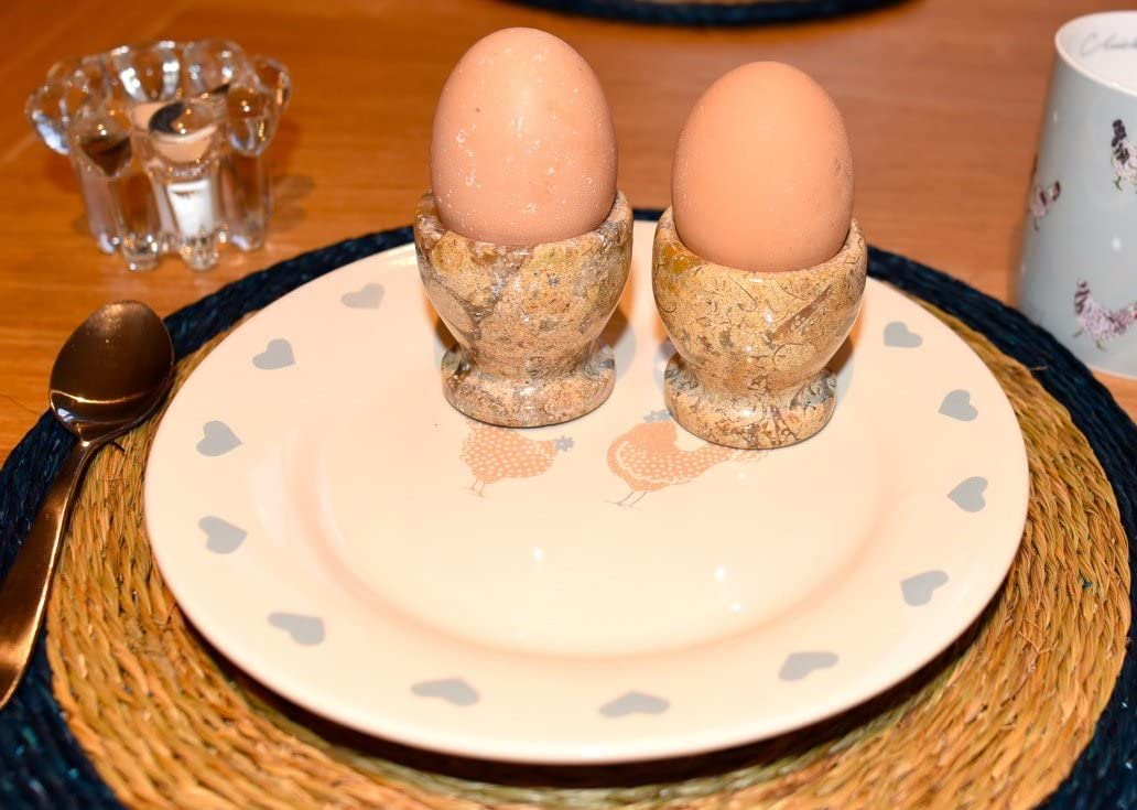Set of 2 Marble Egg Cups Beige Fossilstone Hand Carved