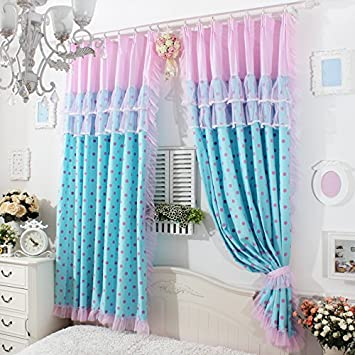FADFAY Home Textile,Delicate Pink Lace Curtains,Cute Pink Polka ...
