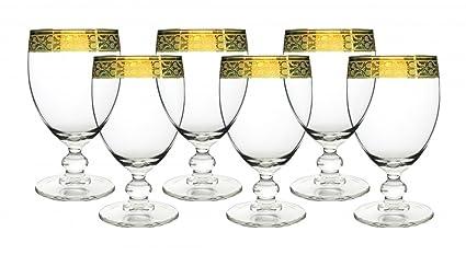 Vino órganos GS105 italiano vino copas de cristal (banda, oro