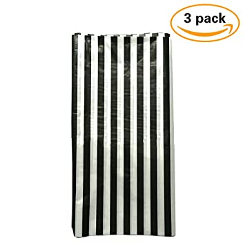 Pack Of 3 Plastic Black And White Stripe Print Tablecloths   3 Pack   Party  Picnic
