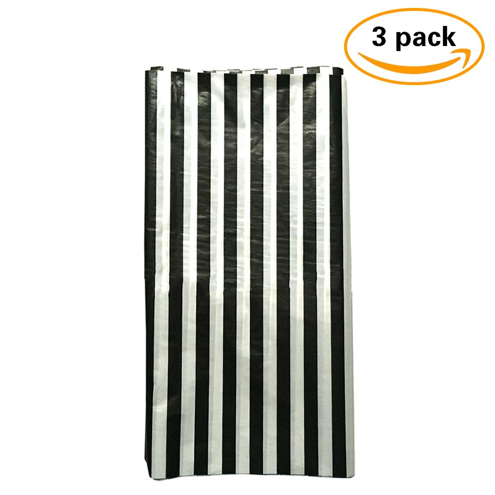 JINSEY Pack of 3 Plastic Black and White Stripe Print Tablecloths - 3 Pack - Party Picnic Table Covers by JINSEY