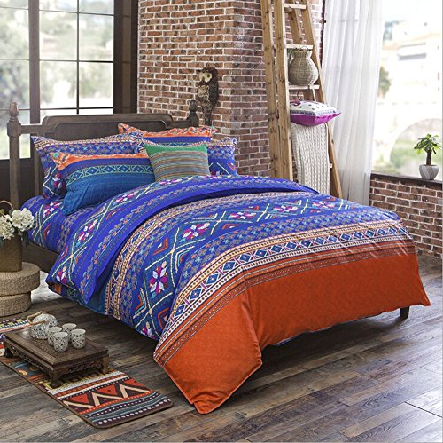 Nattey Bedding Quilt Duvet Cover Set,Folk Floral Print Pattern,Blue And Orange, (Queen)