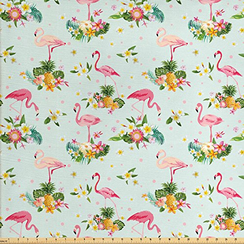 Flamingo Decor Fabric by the Yard by Ambesonne, Flamingo Bird and Tropical Flowers Fruits Pineapples Plumeria Vintage Style Art, Decorative Fabric for Upholstery and Home Accents (Flamingo Outdoor Fabric)