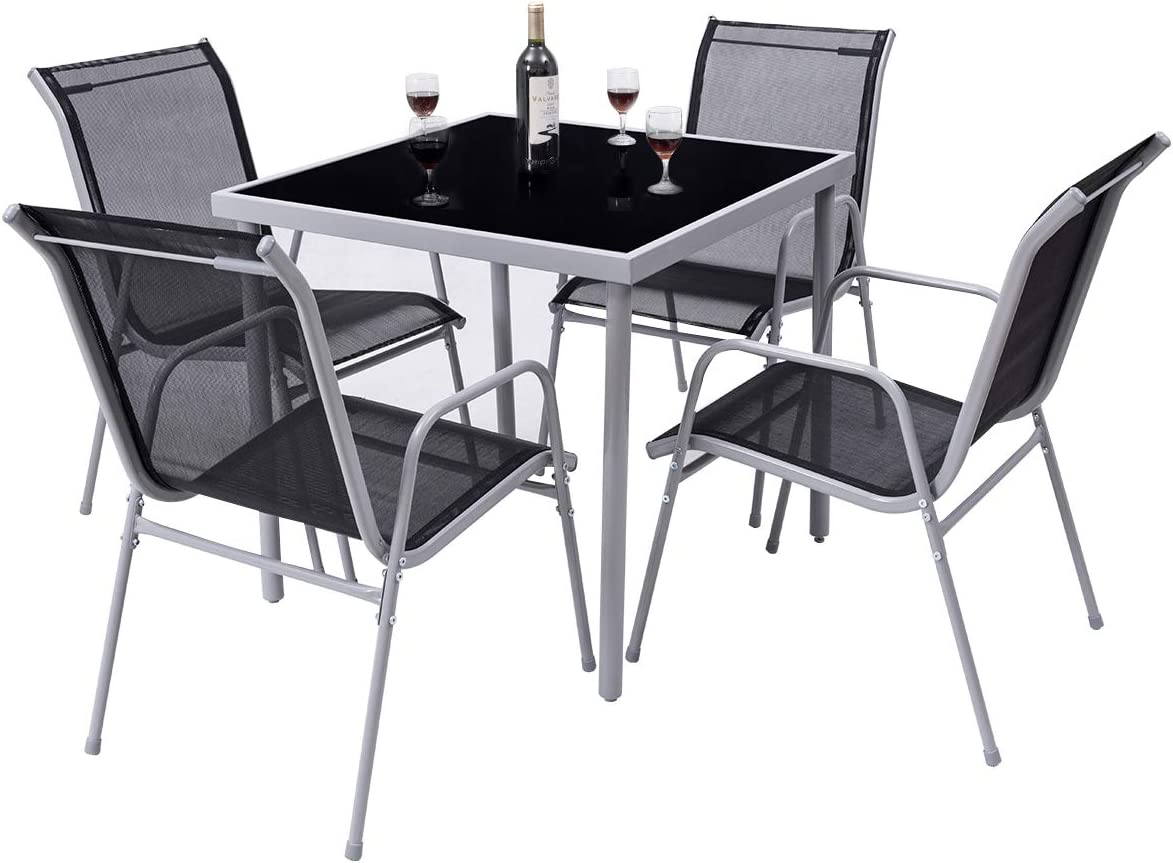 Giantex Dining Table Set Bistro Set with 1 Table and 4 Chairs Indoor Outdoor Garden Patio Dining Furniture with Tempered Glass Tabletop and Steel Frame (Black)