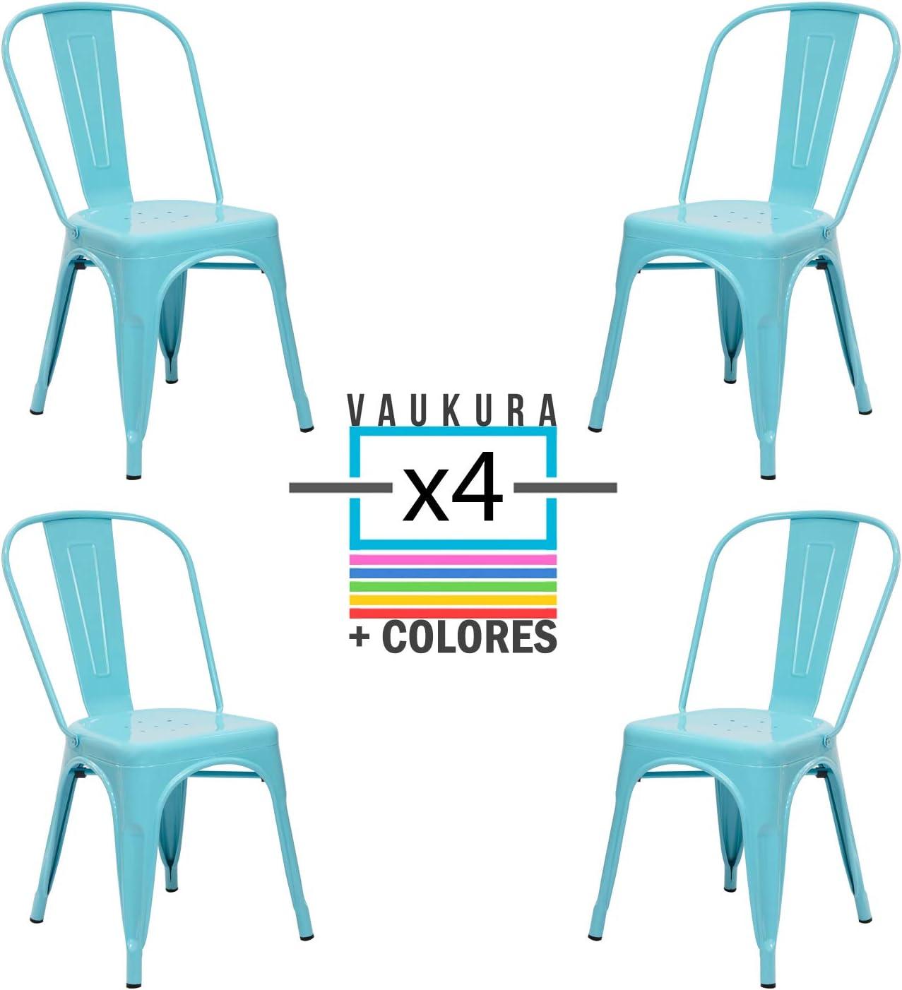 Vaukura Silla Tolix(Pack 4) - Silla Industrial Metálica Brillo (Azul Cielo)