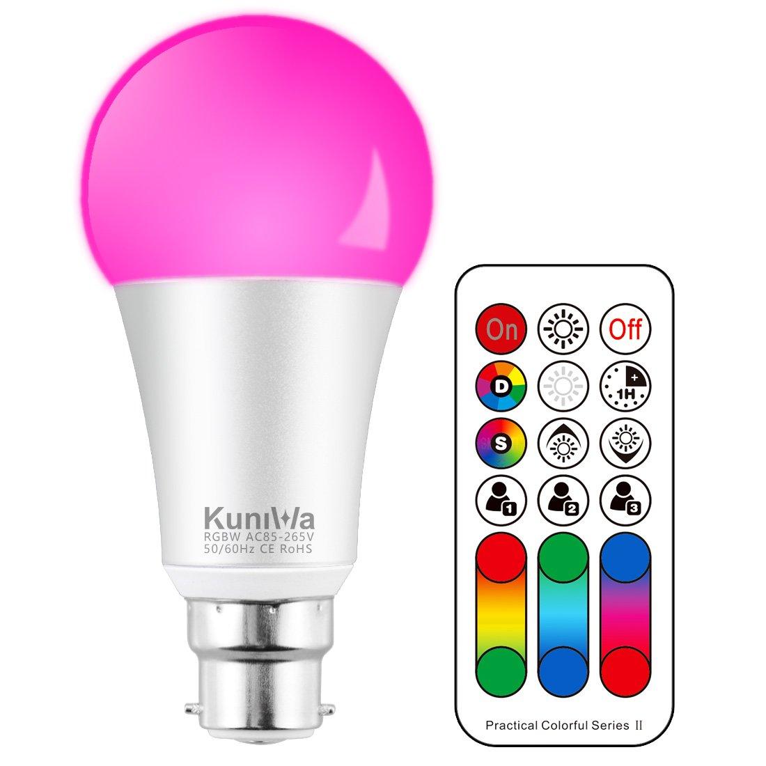 LED Farbige Licht Leuchtmit RGB LED Leuchtmittel Dimmbar mit Fernbedienung B22 10W, Kuniwa RGBW LED Lampen, Farbwechsel Lampen LED Birnenmit 120 Farben