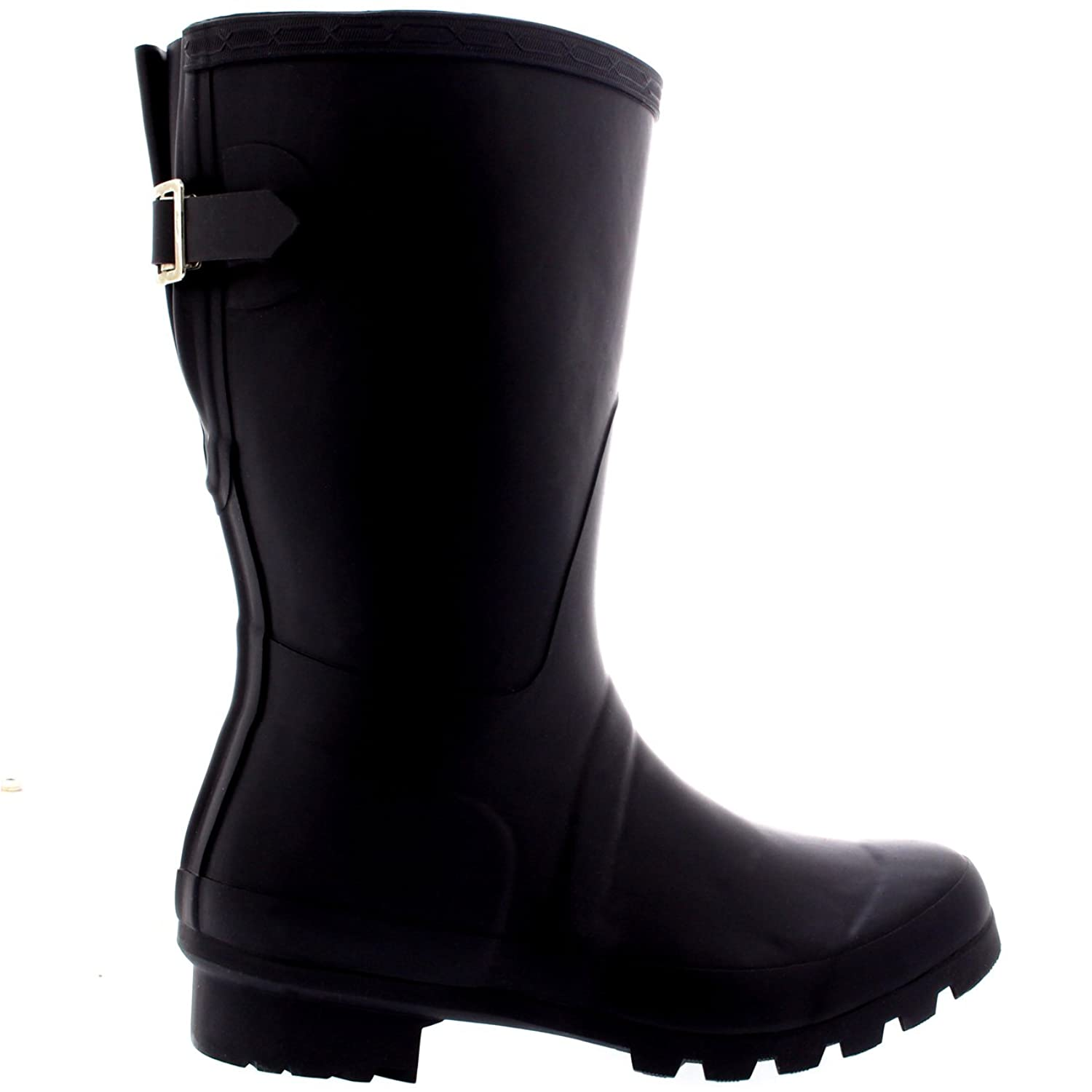 Amazon.com | Womens Original Adjustable Back Short Wellington Rain Snow Festival Boot - 7 - BLA38 BL0077 | Mid-Calf