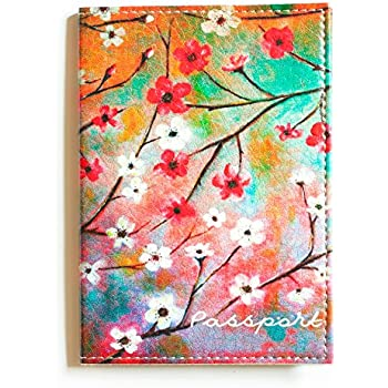 Passport cover Blossom  - Eco Waterproof Leather Holder For Women - Designer Case Perfectly fits for US, UK, European (except German), Australian, Singapore and many other international passports.