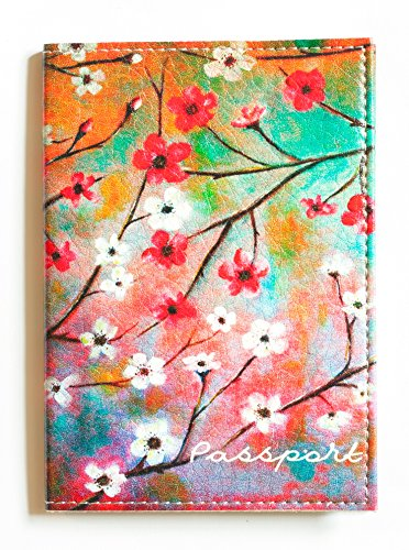 Leather International Document Passport Case - Passport cover Blossom  - Eco Waterproof Leather Holder For Women - Designer Case Perfectly fits for US, UK, European (except German), Australian, Singapore and many other international passports.