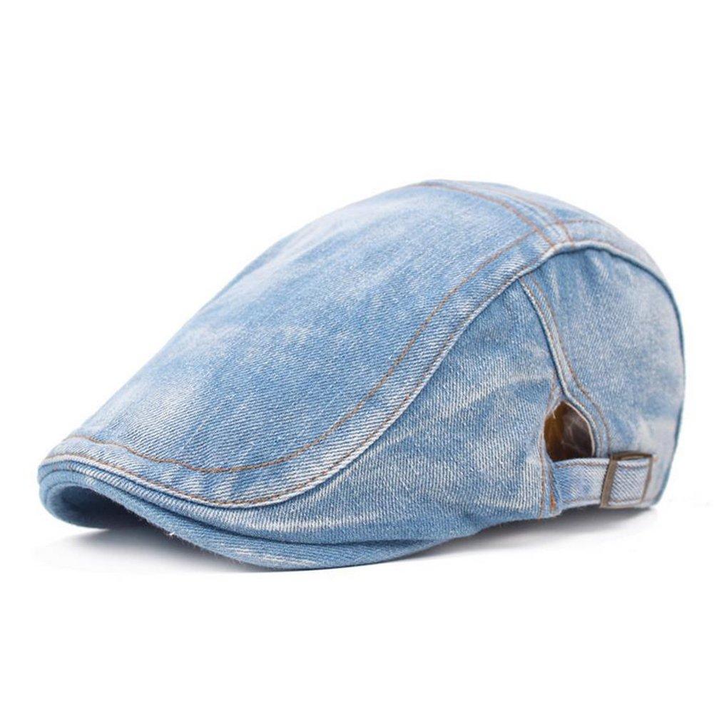 Drawihi, berretto con visiera, in denim, stile retro e casual, traspirante, comodo, lavabile, non scolorisce Light Color (Grigio chiaro)