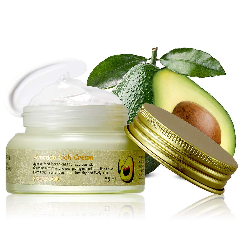 SKINFOOD Avocado Rich Cream 1.85 oz (55ml) - Containing Avocado Extract, Nourishing & Moisturizing with Vitamins and Minerals