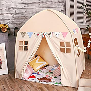 Large Children Playhouse - Beige Princess Girls Indoor Nursery Canvas Play Tent Bed House Sturdy & Amazon.com: Large Children Playhouse - Beige Princess Girls Indoor ...