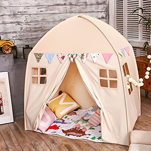 Large Children Playhouse - Beige Princess Girls Indoor Nursery Canvas Play Tent Bed House, Sturdy Frame & Mess Windows, Easy to Put Up and Take - You Camping Take To Things Need