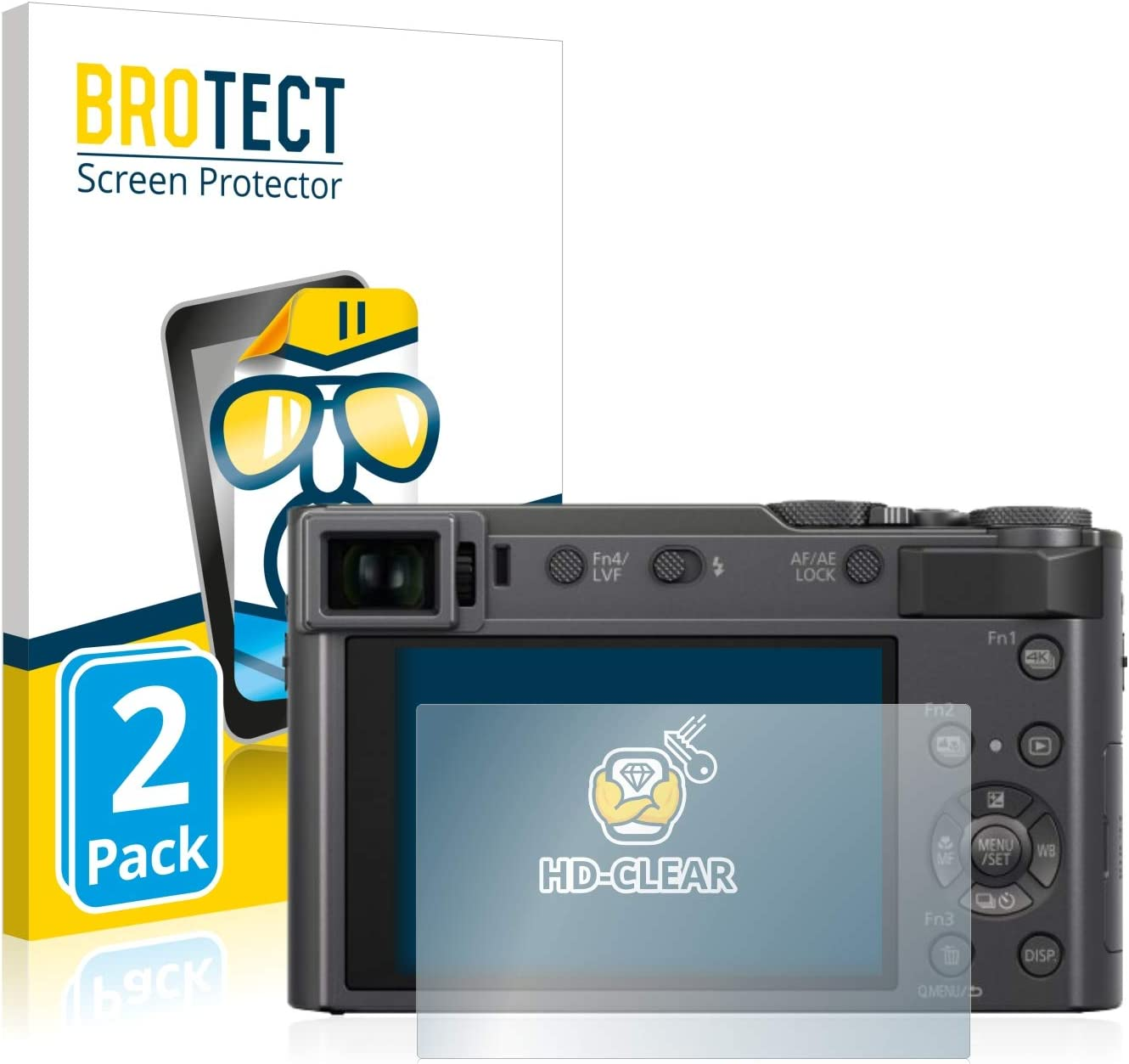 HD-Clear Protection Film brotect 2-Pack Screen Protector compatible with Panasonic Lumix DC-TZ200