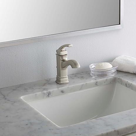 Amazon.com: MOEN Single Hole 1-Handle Bathroom Faucet Microban ...