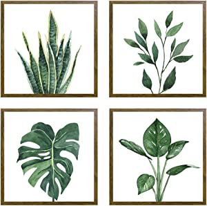 "ArtbyHannah 10"" x 10"" 4 Panels Framed Walnut Finish Picture Frame Collage Set for Wall Art Décor with Watercolor Green Leaf Tropical Botanical Plant Prints for Gallery Wall Kit or Home Decoration"