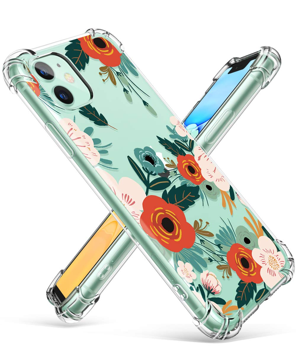 GVIEWIN iPhone 11 Case, Clear Flower Design Soft & Flexible TPU Ultra-Thin Shockproof Transparent Bumper Protective Floral Cover Case for iPhone 11 ...