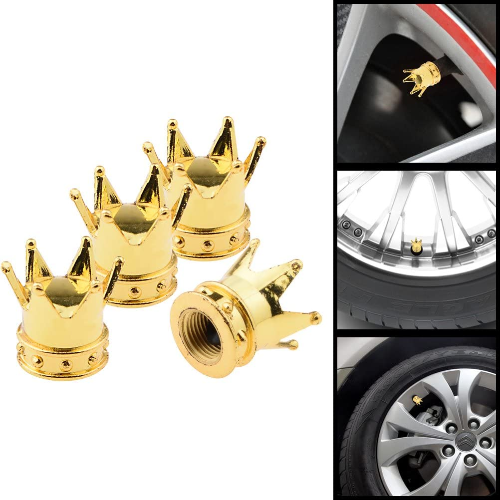 4x Gold Crown Aluminum Wheel Tyre Valve Stem Caps For Cadillac All Year Model