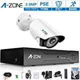 A-ZONE 200万画素タイプ 防犯カメラキット 4CHレコーダー&1台カメラフルハイビジョン 防水IP67 ナイトビジョン監視カメラiPhone Android スマホ PC 遠隔監視 対応 (1TBHDD付き) (SA1080410-1)