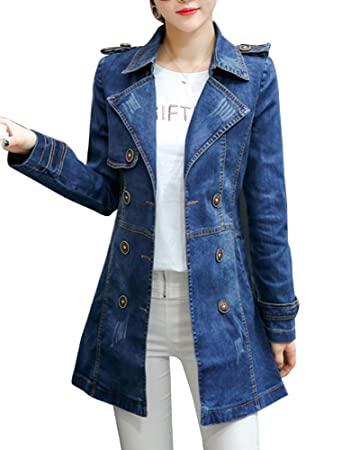 free shipping f0332 d23a1 Giacca Lunga Donna Casual Cappotto Denim Giacca Jeans Manica ...