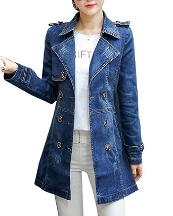 magasin haute couture Achat Veste En Jean Femme Trench-Coats Longue Manteau Veste Manche Longue Denim  Blouson Veste