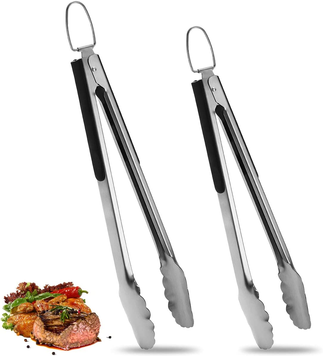 ROMANTICIST 2 Pack Stainless Steel Food Cooking Tongs (9 Inch & 12 Inch), Locking Kitchen Tongs with Non-Slip Grip, Set of 2 Heavy Duty Locking Metal Tongs, Perfect for Cooking, Grilling and Serving